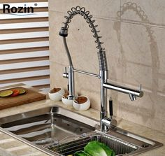 (68.31$)  Buy here - http://ai0ar.worlditems.win/all/product.php?id=32471722487 - Swivel Spout Deck Mount Kitchen Spring Mixer Faucet Single Handle Dual Sprayer Nozzle Water Taps Chrome Finish