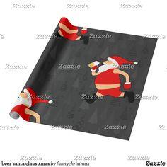 beer santa claus xmas wrapping paper Xmas Wrapping Paper, Custom Wrapping Paper, Gift Wrapping, Christmas Beer, Christmas Humor, Christmas Cards, Funny Xmas Gifts, Beer Humor, Ugly Christmas Sweater