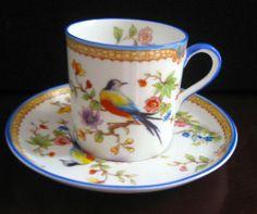 Aynsley England  Demi Cup & Saucer  Blue Rim  Bird  bone china