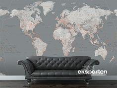 Fototapet - Sølvgråt verdenskort