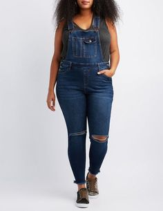 dee913664c7 Charlotte Russe Plus Size Refuge Destroyed Denim Overalls