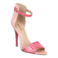 """Inspiration is definitely loaded with girly glam. Take the girl party to your feet with these exquisite hooded high heels with adjustable ankle strap. Padded footbed for all-day comfort. Imported. Man-made upper, lining and sole. 4 1/2"""" high heels."""