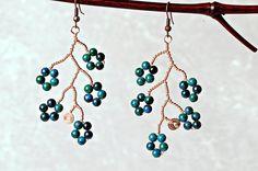 Blue Blossom Branch Earrings Copper Wire by JeanneAshleyJewelry