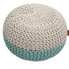 Puf do siedzenia Hawke&Thorn Parker, beżowo-miętowy Minimal Chic, Complimentary Colors, Poufs, Home Art, Ottoman, Crochet Hats, Mint, Pillows, Furniture
