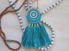 Dreamcatcher Necklace, Tassel Necklace, Handwoven Necklace - Teal Aqua Turquoise - Hand Painted, Fiber Art, Boho Chic, Textile Art by blendingbybetty on Etsy https://www.etsy.com/listing/481432355/dreamcatcher-necklace-tassel-necklace