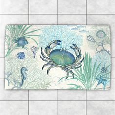 Laural Home 'Blue Creature of the Sea' Multicolor Polyester Accent Rug (4' x 6') (4' x 6), Blue, Size 4' x 6'