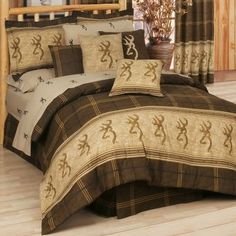 Browning Buckmark E-Z Bed Set by Browning. $199.99. The legendary Browning Buckmark is an instantly recognizable symbol of the outdoor lifestyle. Dry-clean only. 100% cotton. Includes comforter, sheet set, bed skirt, two shams (Twin includes one) and two toss pillows. Made in USA and Imported.Comforter sizes: Twin (65 x 90), Full (80 x 90), Queen (86 x 94), King (110 x 96).Sham sizes: Standard (21 x 27 plus 2 flange), King (21 x 37 plus 2 flange).