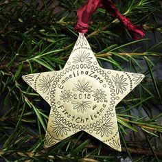 Star metal ornament handstamped custom personalized in copper brass or nickel…