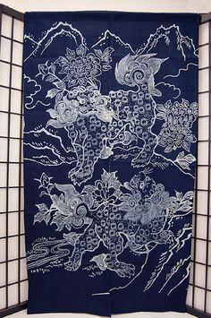 Japanese Noren Curtain Shishi Laion Noren 92 NEW | eBay Japanese Door, Japanese Art, Doorway Curtain, Noren Curtains, Pray For Peace, Lion Dance, Foo Dog, Irezumi, Evil Spirits