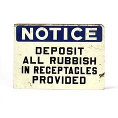 vintage industrial blue notice sign. $34.00, via Etsy.
