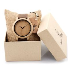 This beautiful watch is crafted from bamboo, the strap made with genuine leather and is comfortable to wear. It comes elegantly packaged in a craft paper gift box with a presentation cushion making it