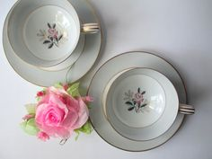 Vintage Noritake Lindley Pink Gray Rose Teacups by thechinagirl