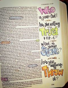I Samuel 17 - David & Goliath - Who is your God?  Are you willing to trust Him?  What is your stone?  Are you willing to throw it?  [credit to A.Tim, FB]