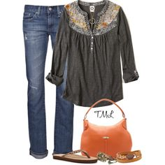 """Fall Henley"" by tmlstyle on Polyvore"