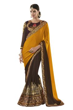 Buy Now Mustard-Brown Fancy Embroidery Georgette Silk Half-Half Wedding Wear Saree only at Lalgulal.com Price :- 4,312/- inr. To Order :- http://goo.gl/3nXJGE COD & Free Shipping Available only in India