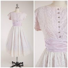 Vintage 1950s Dress • Sunday Morning • Lilac Eyelet Lace 50s Party Dress with Full Skirt Size Small