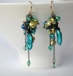 Your place to buy and sell all things handmade Shades Of Green, Fresh Water, Buy And Sell, Drop Earrings, Pearls, My Favorite Things, Handmade, Blue, Etsy