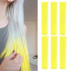 VIBRANT YELLOW – 6 Bright Neon Yellow Hair Chalks