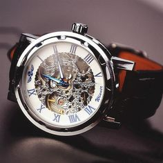 Mens watch / leather watch / automatic mechanical watches (wat0041-4)