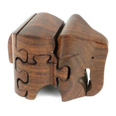 Handmade Carved Wooden 3D Elephant Puzzle - Noahs Ark