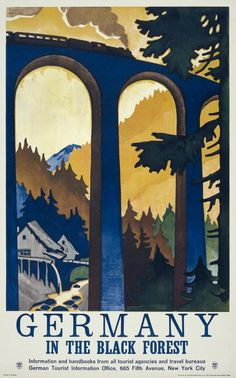 Germany: In the Black Forest. This poster shows a train crossing a railroad bridge over a deep canyon in Germany's Black Forest. Illustrated by Willy Dzubas, circa 1930.