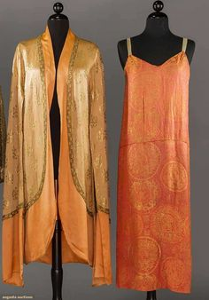"""CALLOT SOEURS & WORTH LAME GARMENTS, PARIS, 1920s  1 """"Callot Soeurs Paris"""" evening coat, couture tape """"2827"""", of light peach satin w/ gold lame blossom motif, dark peach charmeuse hem band, exaggerated long sleeves; 1 """"Worth"""" label, coral silk & gold lame evening dress, couture tape """"85983"""""""