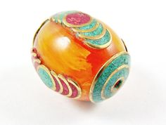 Ethnic Amber Copal Resin Bead With Turquoise & Coral Inlay - Tibetan Nepalese Handmade - 1pc