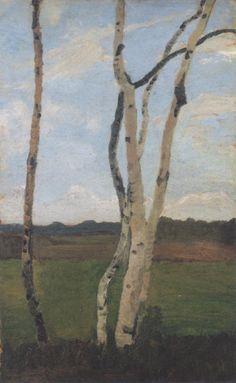 Paula Modersohn-Becker (German, 1876-1907), Landscape with Birch Trunks, c.1901. Oil on cardboard, 73.6 x 46.2cm. Paula Modersohn-Becker Museum, Bremen.