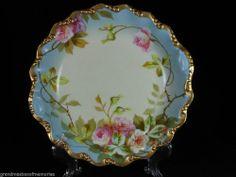 """Antique SIGNED LDBC Limoges FRANCE Porcelain China Flambeau Bowl w/Roses 9""""x 2""""  on Ebay"""