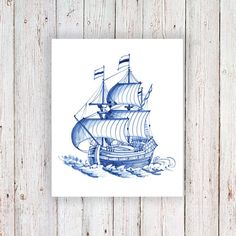 This pretty vintage ship temporary tattoo is made in the famous Dutch Delfts Blauw style. I love this style and I think its perfect for temporary