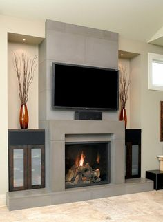 Decorating, Remarkable See Through Wood Burning Fireplace With Furniture Interior Design Minimalist Contemprary Grey Stone Style Pictures And Large Flat Screen Tv Also Ornaments Gray White Paint Wall: Superb to See Through Fireplace Designs