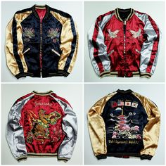 Vintage Japanese Japan Yokosuka Jumper China Korea USA West Pac USS Ingersoll Tiger Tora TAILOR TOYO Pagoda Temple Snake Roses Mt. Fuji USA China Japan Korea Tattoo Art Embroidery Embroidered Bomber Sukajan Tour Souvenir Jacket ( SIZE : L ) - Japan Lover Me Store
