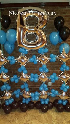 Tiffany blue, silver and black Star balloon wall