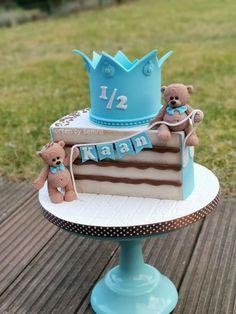 birthday by TortenbySemra - baby girl - first birthday cake-Erster Geburtstagskuchen 2nd Birthday Cake Boy, Happy Half Birthday, Half Birthday Cakes, 50th Birthday, Baby Boy Cakes, Girl Cakes, Cake Designs For Boy, Baby Baby, 6 Months