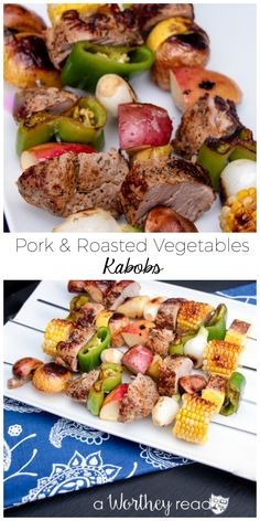 Pork & Roasted Vegetables Kabobs    Easy Dinner Idea with Smithfield Pork!   Even the kids will love this easy and colorful dinner idea!   #SmithfieldPork #spon