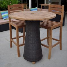 Anderson Teak Round Bar Table w/ Wicker Leg and 2 Mandalay Bar Chairs - Home Bars USA - 1 Balcony Table And Chairs, Dining Room Table Chairs, Industrial Dining Chairs, Cafe Chairs, Ikea Chairs, Round Bar Table, Bar Table Sets, Bar Tables, Small Accent Chairs