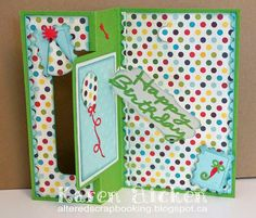 Altered Scrapbooking: Rectangle Pull Card with Balloons for ECD using Karen Burniston dies; Jan 2015