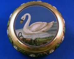 Micro-mosaic of a swan by Marcus & Co. with green and white enamel