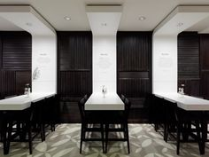 Again, love the use of a continued material from table up to ceiling   Restaurant Design : Holyfields by Ippolito Fleitz Group