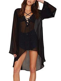 Wander Agio Beach Club Sexy Perspective Skirt Long Sleeve V-neck Dresses Black,Black,One Size #affiliate #tanktops #tanktopsforwomen #blacktanktop