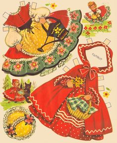 Sharon's Sunlit Memories: Cinderella - Jack and Jill Story Favourites - Little Red Riding Hood Paper Art, Paper Crafts, Paper Cutting, Jack And Jill, Vintage Paper Dolls, Paper Toys, Red Riding Hood, Free Paper, Little Red
