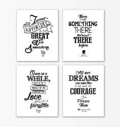 Disney Beauty and the Beast nursery print Quotes,Beauty beast nursery, baby shower gifts,nursery prints,nursery quote set of 4,arrow prints