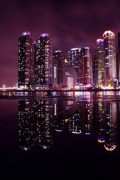 heaundae night reflection... by Andrew8RRR, via Flickr