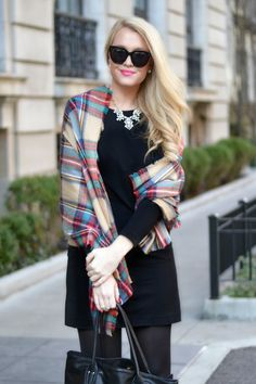 Tartan plaid scarf and statement necklace.