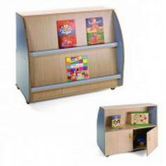 Mueble infantil expositor de libros Dos caras, una de ellas expositor con dos niveles de altura y otra con 2 estantes y puertas bajas. http://www.segurbaby.com/es/180335/mueble-infantil-expositor-de-libros.htm