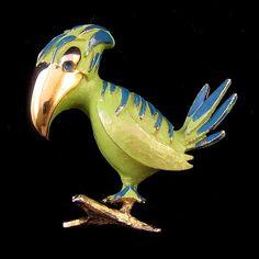 Tortolani Green Enameled Parrot Brooch
