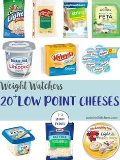 health plan Crave cheese but also on Weight Watchers Well, you will love this list of over 20 Low Point Cheeses. Each cheese is listed with its point value and they are all 1 - 3 Smart Points on Weight Watchers Freestyle Flex plan. Weight Watchers Snacks, Weight Watchers Tipps, Weight Watchers Program, Weight Watchers Smart Points, Weight Loss, Weight Watchers Pasta, Weight Watchers Products, Weight Watchers Dressing, Cleaning Tips