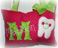 Girls Tooth Fairy Pillow  polka dots by SandDStitches on Etsy, $22.50