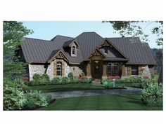 French Country House Plan with 2847 Square Feet and 3 Bedrooms from Dream Home Source | House Plan Code DHSW73227