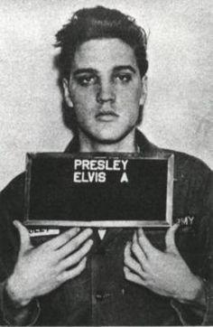 Mugshot of Elvis 1956 arrested for assault.